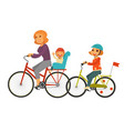 mother together with children ride bicycles vector image vector image