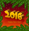 New year 2016 and fir tree frame vector image