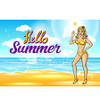 Outdoor summer sunny bikini fashion smiling vector image vector image