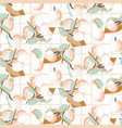 peach fruit seamless pastel light pattern vector image
