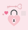 pink cute cartoon dotted heart shape key and lock vector image