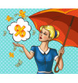 pop art lady with umbrella under money rain vector image