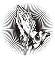 Praying hands with rosary and shining tattoo vector image vector image