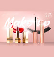 realistic golden mascara bottles and vector image