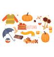 set cute autumn orange icons on white
