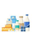 set dairy products milk yogurt cheese cream vector image