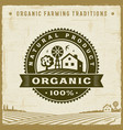 vintage organic natural product label vector image vector image