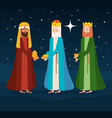 wise kings manger characters vector image vector image