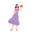 woman making announcement with loudspeaker vector image vector image
