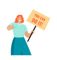 you can do it symbolic image a young woman vector image