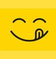 yummy smile cartoon line emoticon with tongue vector image