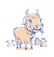 isolated funny sketch cow for milk product vector image