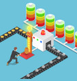isometric businessmen use power to create good vector image