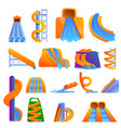 aquapark icons set cartoon style vector image vector image