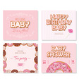 baby shower cards set for girls sweet templates vector image vector image