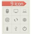 black computer icon set vector image vector image