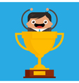 Business Man in Giant Trophy vector image