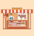 Butcher shop meat man seller store shelves with vector image
