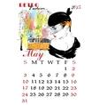 Calendar with fashion girl vector image vector image