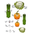 Cartoon asparagus cauliflower and bell pepper vector image vector image