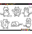 cats set coloring book vector image