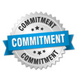 commitment round isolated silver badge vector image vector image