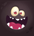 cool cartoon black monster face vector image vector image