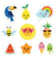cute summer characters set vector image