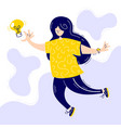 cute young women jumps to catch light bulb vector image