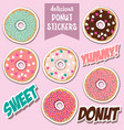 delicious donut stickers vector image