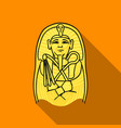 egyptian pharaoh sarcophagus icon in flat style vector image vector image