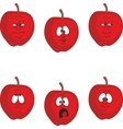 Emotion cartoon red apple set 002 vector image