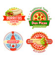 fast food restaurant snacks meals icons vector image vector image