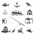 Fishing black icons set vector image vector image