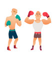 flat muscular handsome boxer man set vector image vector image