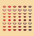 glamorous glossy shining female lips in red colors vector image vector image
