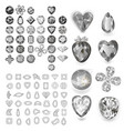 greyscale gems set vector image vector image