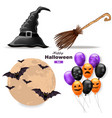 halloween set moon balloons witch hat and vector image vector image