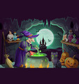 halloween witch with potion and cauldron vector image vector image