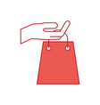 hand holding paper bag gift shopping concept vector image vector image