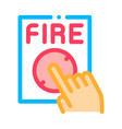 hand push fire button icon outline vector image vector image