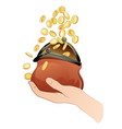hand with purse and coins vector image vector image
