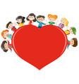 happy children around red heart vector image vector image