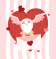 happy valentines day owl flying with letter vector image