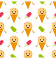 ice cream cone character and popsicles pattern vector image vector image