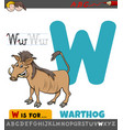 letter w educational worksheet with warthog animal
