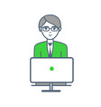 male smart worker working laptop isolated vector image vector image