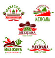 mexican food cuisine restaurant icons set vector image vector image