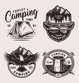 monochrome summer camping labels vector image vector image