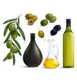 olives and oil realistic set vector image